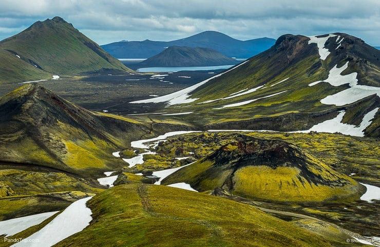Great view of Highlands from mountain beside Lake Frostastadavatn near the famous Landmannalaugar