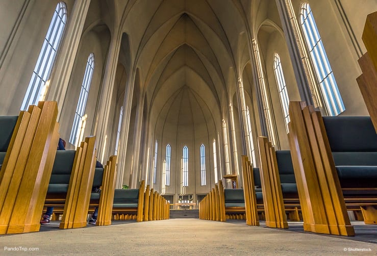 Inside the Hallgrimskirkja church in the center of Reykjaivk, Iceland