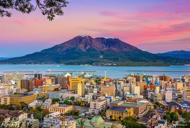 Kagoshima Lansdcape with with Sakurajima Volcano in Japan