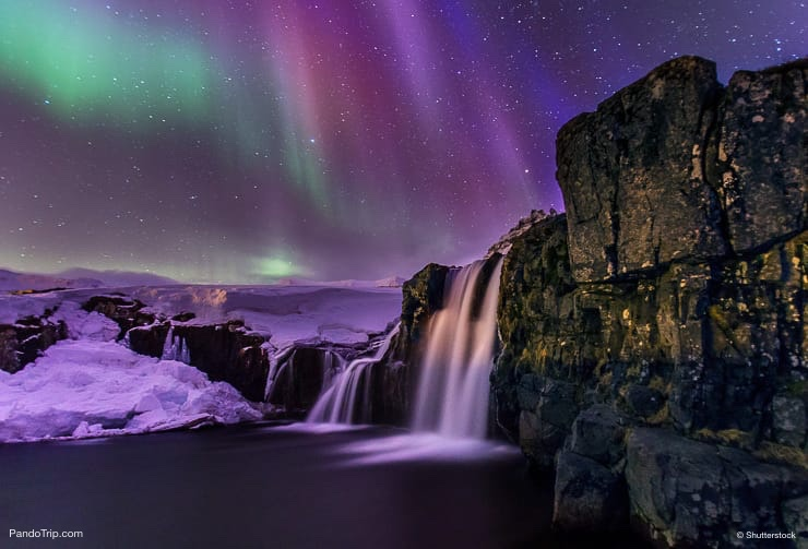 Kirkjufellsfoss Waterfall Under the Northern Lights