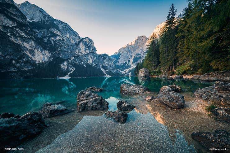 Lago di Braies or Pragser Wildsee, Dolomites mountains, Italy