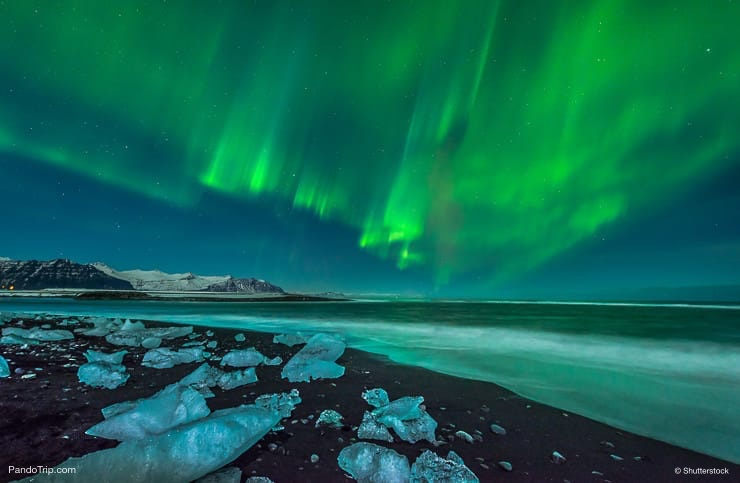 Northern Lights near Jokulsarlon, Iceland