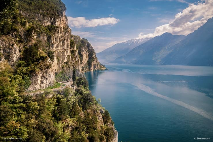 Panorama of Lake Garda or Lago di Garda in Italy