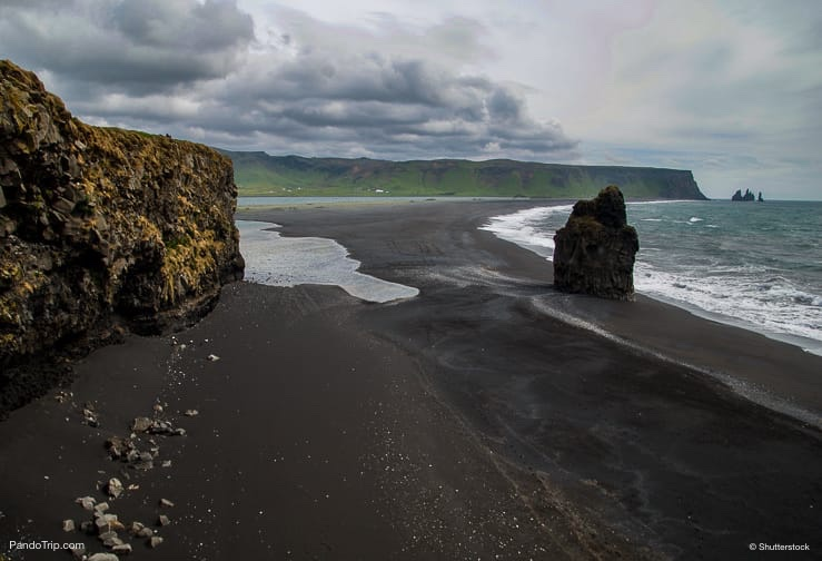 Reynisfjara Black Sand Beach seen from Dyrholaey near Vik, Iceland