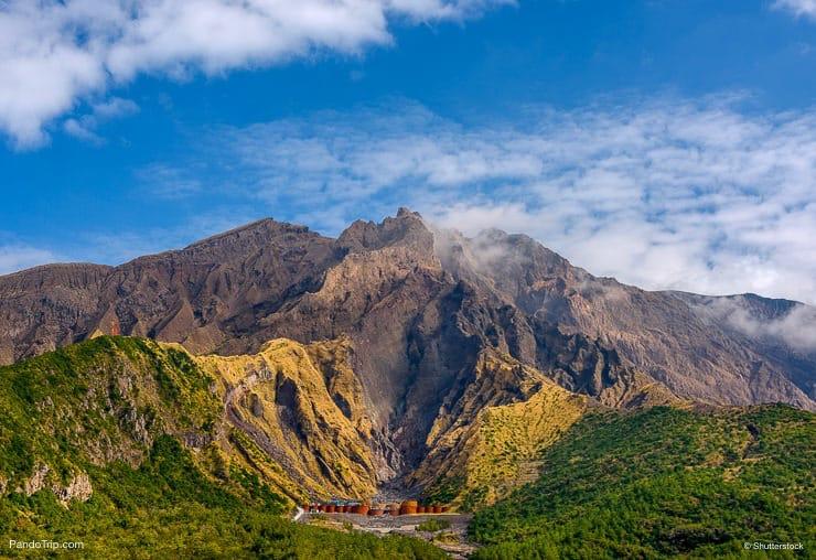 Sakurajima Volcano Crater in Kagoshima, Kyushu, Japan