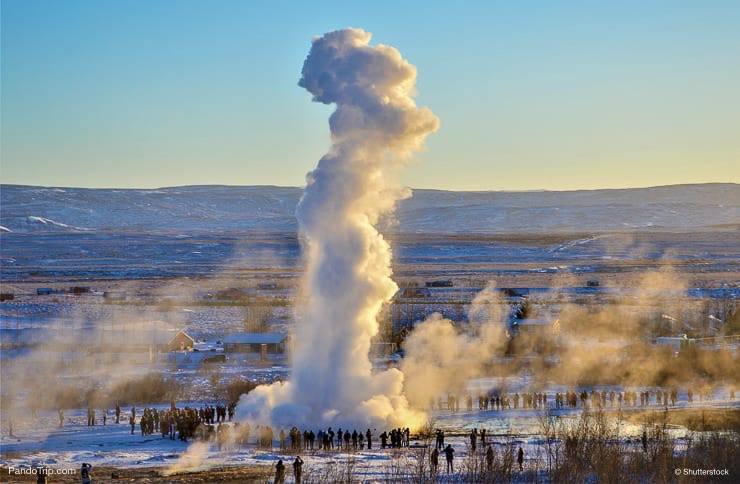 The Great Geysir Eruption in Iceland