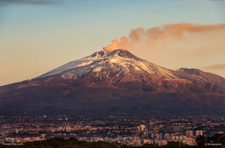 The mount Etna with smoke, Sicily, Italy
