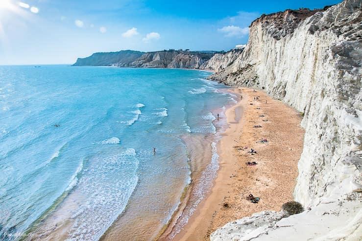 The rocky white cliffs Scala dei Turchi, Sicily, Italy