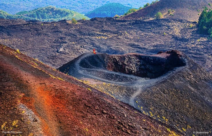 View of Etna crater in Sicily, Italy