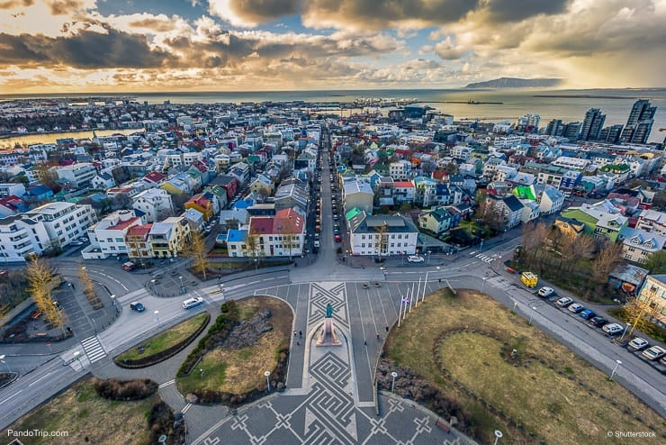View of Reykjavik from the top of Hallgrimskirkja