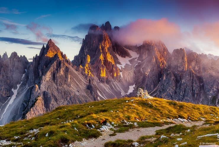 View of the top Cadini di Misurina range in National Park Tre Cime di Lavaredo, Dolomites, Italy