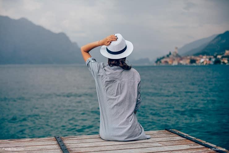 Women looking at Lake Garda, Italy