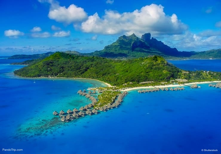 Aerial Drone View of Bora Bora, French Polynesia, Pacific ocean