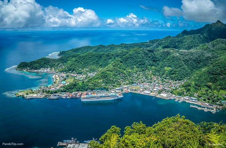 Aerial Drone View of Pago Pago, Tutuila, American Samoa
