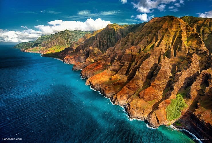 Aerial View Drone View of Na Pali Coast, Kauai, Hawaii