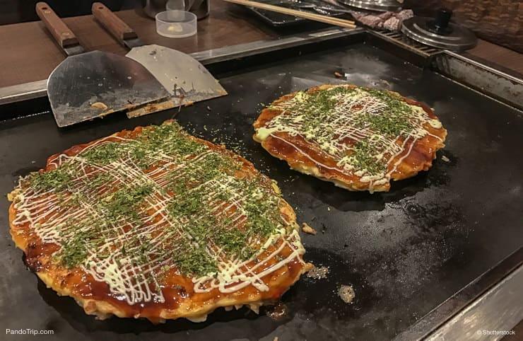Finished, freshly made Okonomiyaki