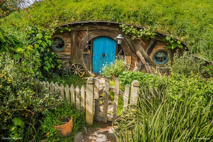 House with blue door at Hobbiton, New Zealand