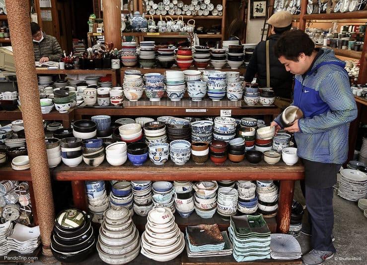 Japanese ceramic tableware store in Kappabashi, Asakusa