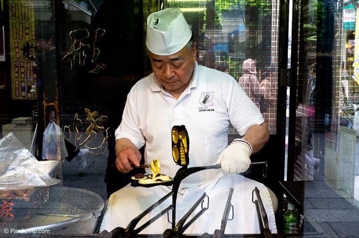 Making Ningyo Yaki at Nakamise Dori, Asakusa, Tokyo