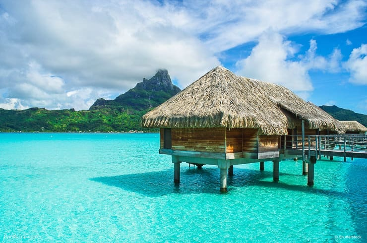 Over water bungalows in Bora Bora, French Polynesia, Pacific Ocean