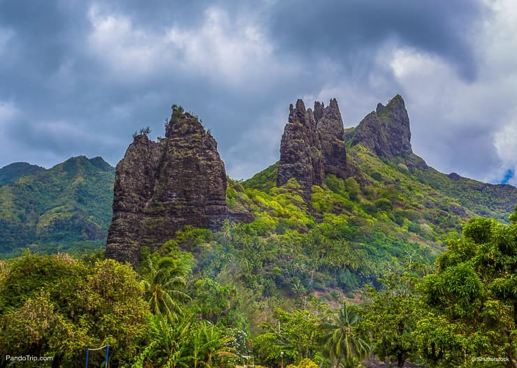 Peaked rock, overgrown jungle on the island of Nuku Hiva, Marquesas Islands, French Polynesia