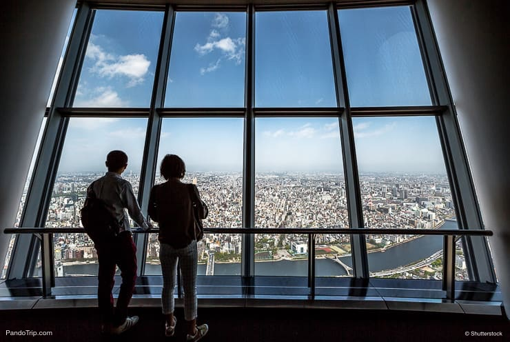Tourists at Tembo Deck observation deck, Tokyo Sky Tree