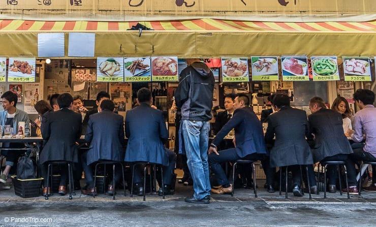 People have dinner at Izakaya, Hoppy Dori Street, Asakusa