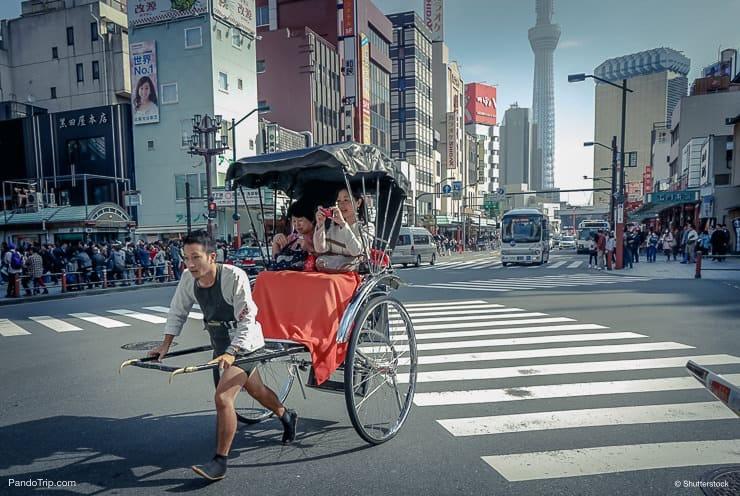 Rickshaw drove tourist around the Asakusa neighbourhood in Tokyo