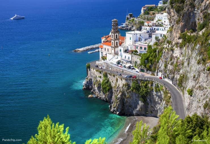 Street leading to Atrani, a small fishing village on Amalfi coast, Italy