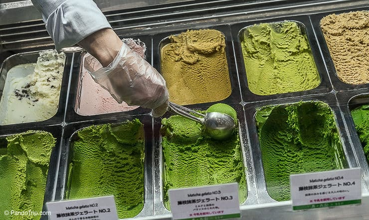 Strongest Matcha gelato at Suzukien in Asakusa