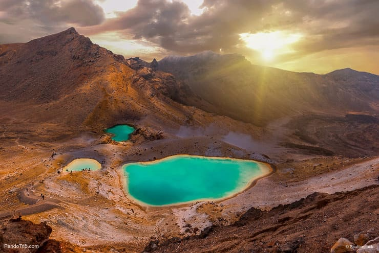 Sunrise over Emerald lakes on Tongariro Crossing track, Tongariro National Park, New Zealand