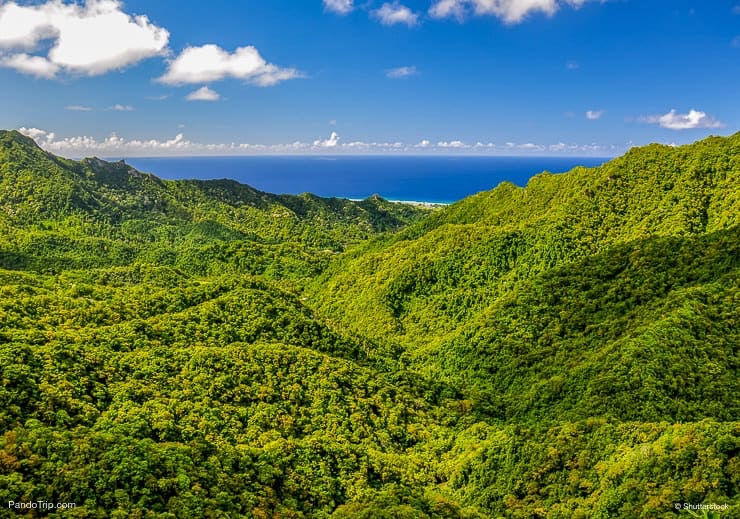 The Needle on Rarotonga, the main island of the Cook Islands. The viewpoint can be reached through hiking the Cross Island Walk