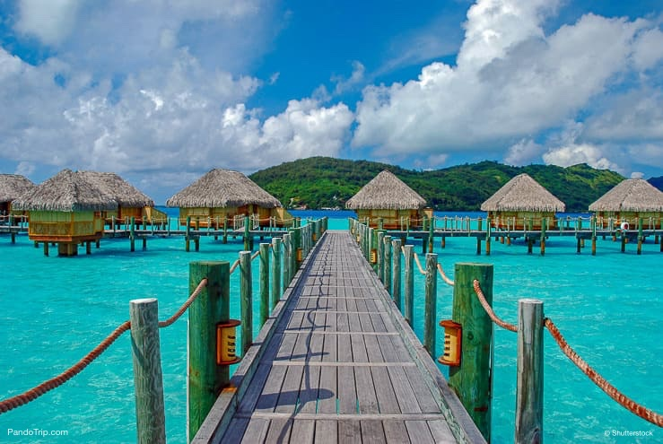 The bridge to over water bungalows in Bora Bora, French Polynesia, Pacific Ocean