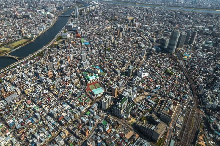 The view of Tokyo city from the top level of Tokyo Sky Tree, Japan