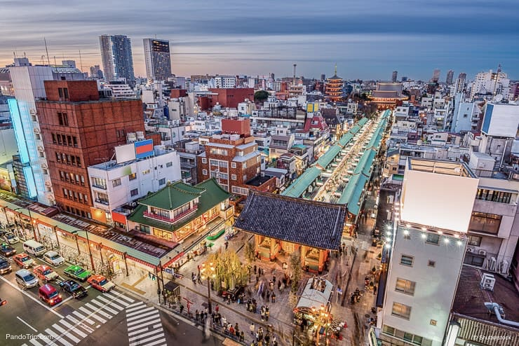 View of Nakamise-dori and Sensoji from Asakusa Culture Tourist Information Center, Tokyo, Japan
