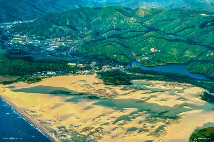 Aerial Drone View of Tottori Sand Dunes in Japan