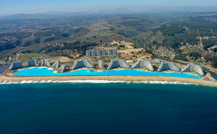 Aerial view of one the biggest pools in the world, San Alfonso del Mar, Chile
