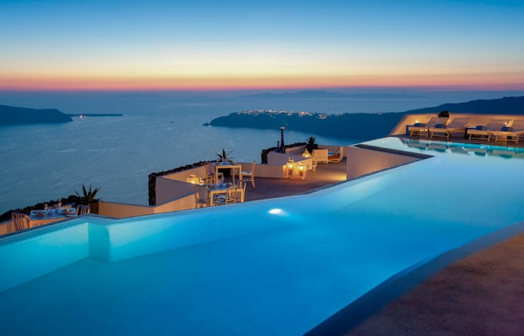 Infinity pool at Grace, Santorini