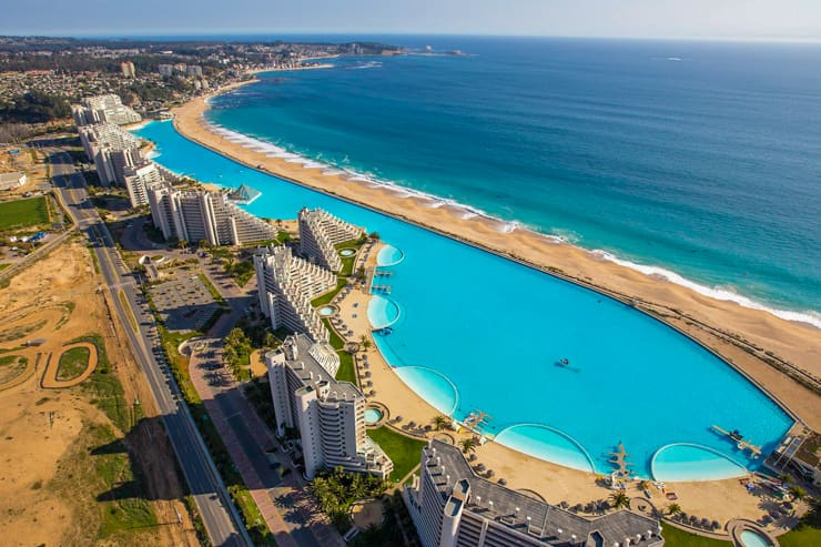 One of the largest swimming pool in the world. San Alfonso del Mar Resort, Algarrobo, Chile