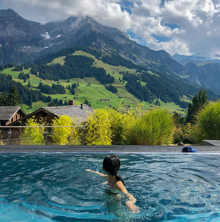 Pool with a view, The Cambrian Hotel Adelboden, Switzerland