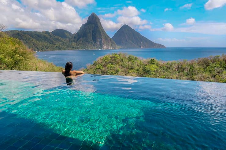 Private pool with stunning view. Jade Mountain, St Lucia