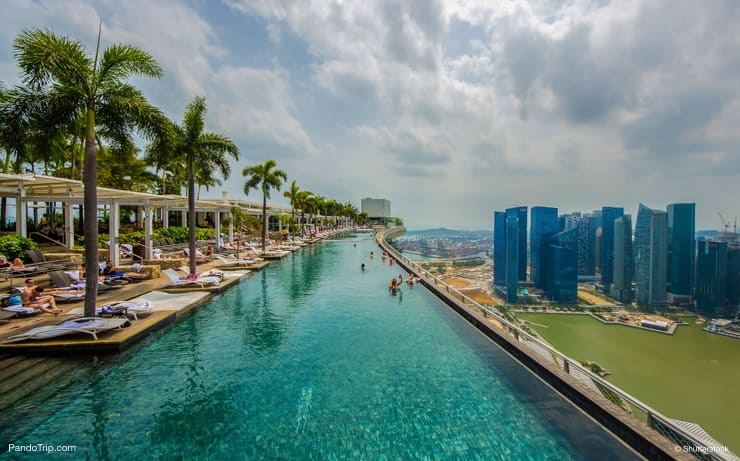 Rooftop infinity pool at the Marina Bay Sands Hotel in Singapore