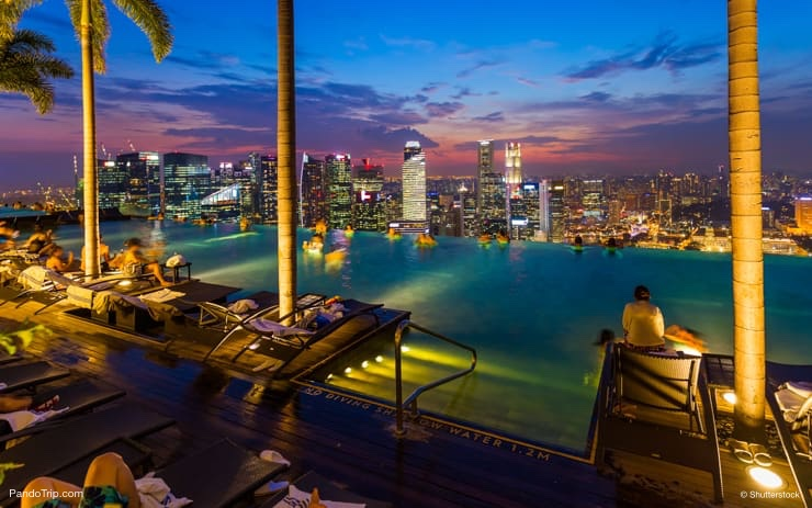 The best Infinity pool in the world. Marina Bay Sands Hotel in Singapore