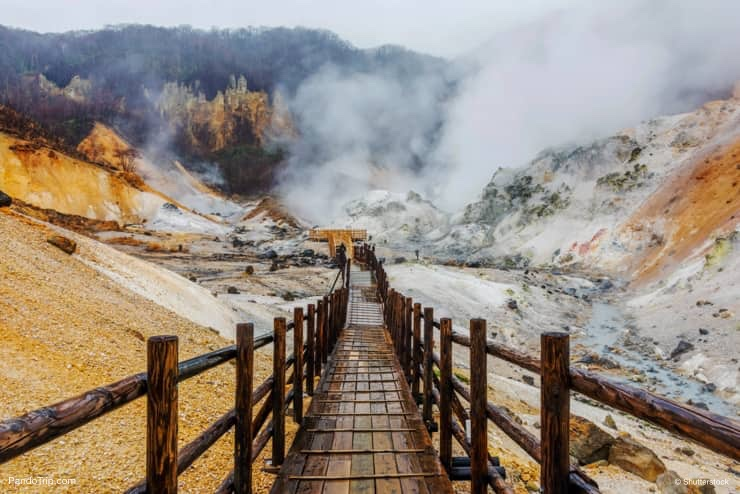 Wooden walking trail in Jigokudani or Hell Valley, Japan