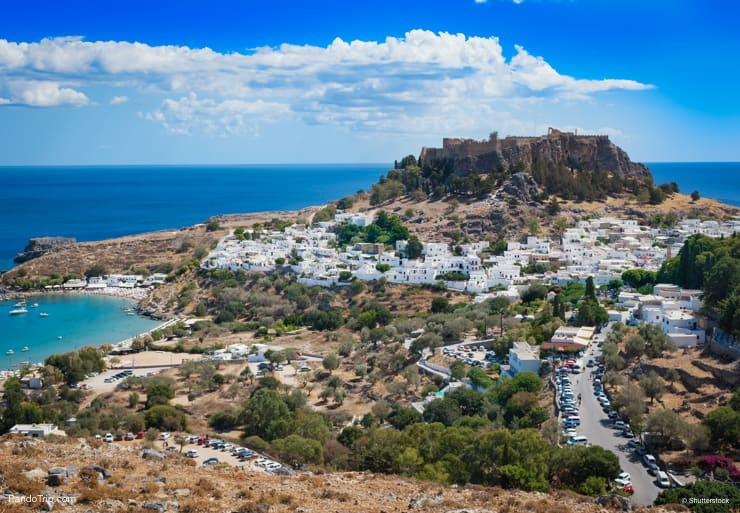 Aerial view of Lindos, Rhodes, Greece