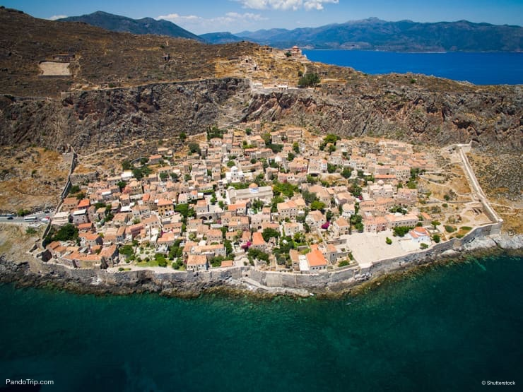 Aerial view of the ancient hillside town of Monemvasia, Peloponnese, Greece