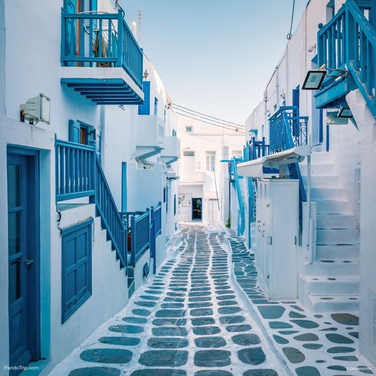 Beautiful street of Mykonos village, Greece