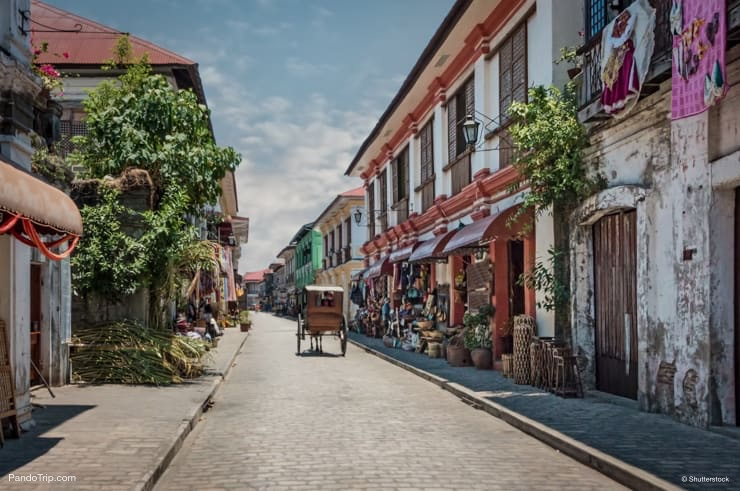 Cobblestone streets of Vigan in Philippines