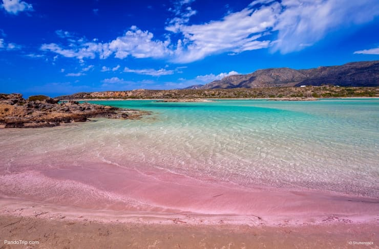 Elafonissi beach, famous for its pink sand, near Chania Town, Crete island, Greece