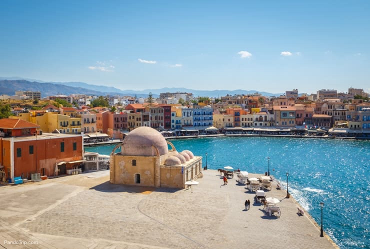 Famous Old Venetian Harbour in Chania, Crete, Greece